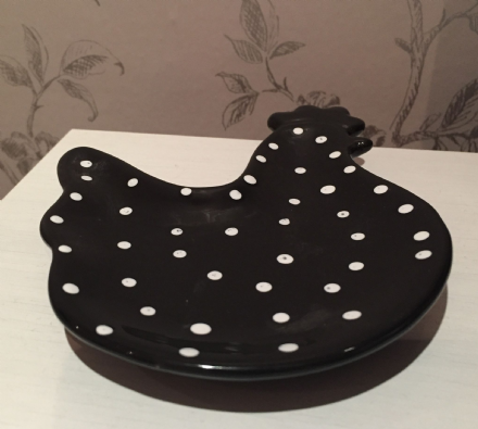 Black & White Polka Dot Cockerel Ceramic Tea Bag Rest Holder